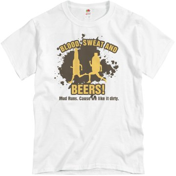 Mud Run Beer Run Unisex Basic Gildan Heavy Cotton Crew Neck Tee