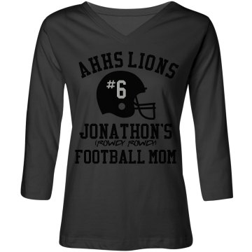 Football Mom #6 Junior Fit Bella Crewneck Jersey Tee