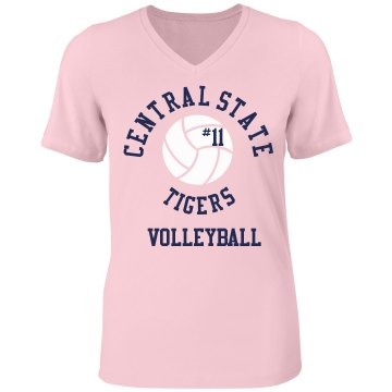 Tigers VB #11 Misses Relaxed Fit Anvil V-Neck Tee