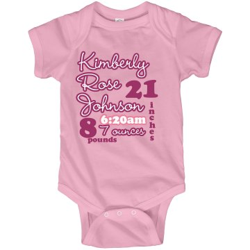 Pink Baby Info Onesie Infant Rabbit Skins Lap Shoulder Creeper
