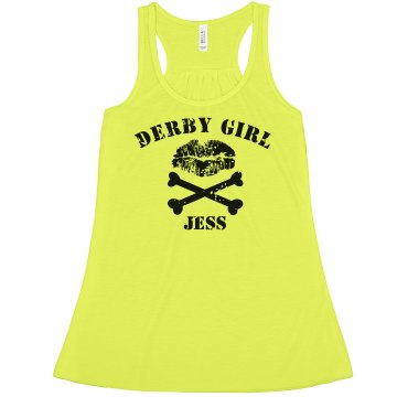 Roller Derby Girl Crop Misses American Apparel Neon Oversized Crop Tank