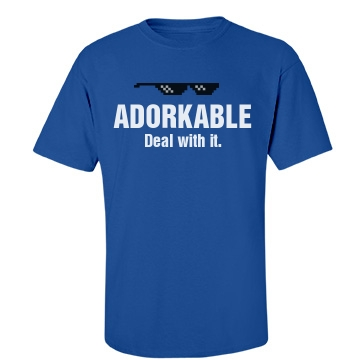 Adorkable. Deal with It. Unisex Gildan Heavy Cotton Crew Neck Tee