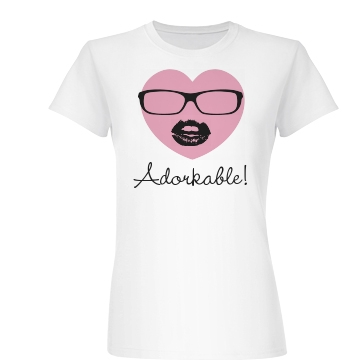 Adorkable Heart Tee Junior Fit Basic Bella Favorite Tee