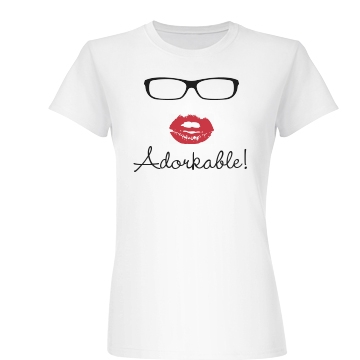 Adorkable With Glasses Junior Fit Basic Bella Favorite Tee