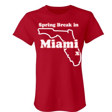 Spring Break In Miami Junior Fit Bella Crewneck Jersey Tee