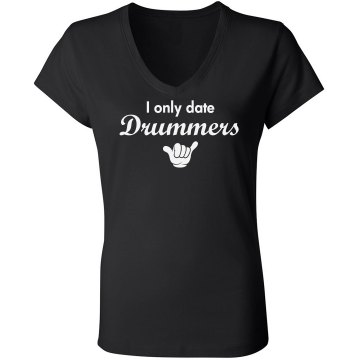 Date Drummers Rhinestones Junior Fit Bella Sheer Longer Length Rib V-Neck Tee