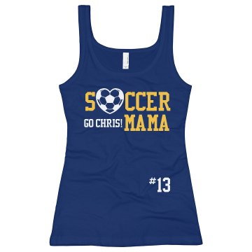 Soccer Mom Tank Top Junior Fit Bella Sheer Longer Length Rib Racerback Tank Top