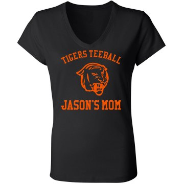 Tigers Teeball Mom Junior Fit Bella Sheer Longer Length Rib V-Neck Tee