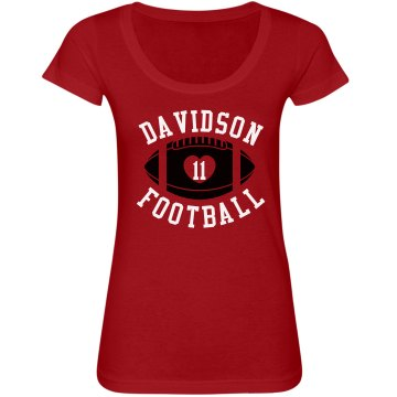 Davidson Football w/ Back Junior Fit Bella Sheer Longer Length Scoopneck Tee