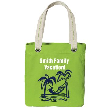 Family Vacation Beach Bag Port Authority Color Canvas Tote