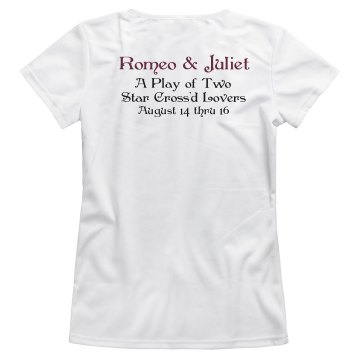 Romeo Juliet Play w/ Back Misses Relaxed Fit Basic Gildan Heavy Cotton Tee