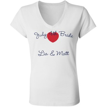 July 4th Bride Junior Fit Bella Sheer Longer Length Rib V-Neck Tee 