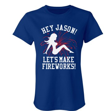 Let's Make Fireworks Junior Fit Bella Crewneck Jersey Tee