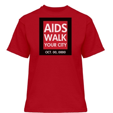 AIDS Awareness Walk Logo Misses Relaxed Fit Gildan Heavy Cotton Tee