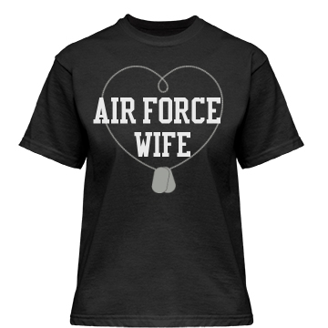 Air Force Wife: Dog Tags Misses Relaxed Fit Gildan Heavy Cotton Tee