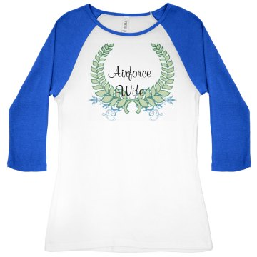 Airforce wife Junior Fit Bella 1x1 Rib 3/4 Sleeve Raglan Tee