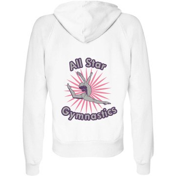 All Star Gymnastics Junior Fit Bella Fleece Raglan Full Zip Hoodie