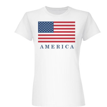 America is Beautiful Junior Fit Basic Bella Favorite Tee