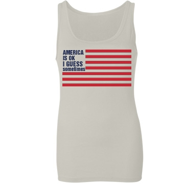 America Is Ok Tank Junior Fit Bella Sheer Longer Length Rib Tank Top