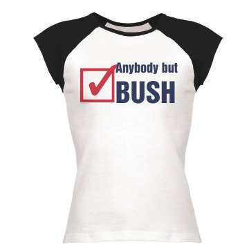 Anybody But Bush Junior Fit Bella 1x1 Rib Cap Sleeve Raglan Tee