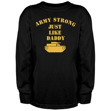Army Strong Son w/ Back Youth Gildan Heavy Cotton Long Sleev