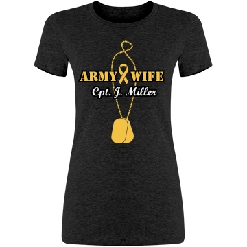 Army Wife Love and Pride Junior Fit American Apparel T