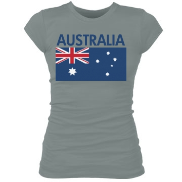 Australia Flag Shirt Junior Fit Bella Sheer Longer Length Rib Tee