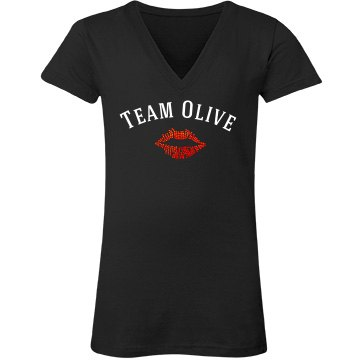 Team Olive Junior Fit Bella Sheer Longer Length Rib V-Neck Tee