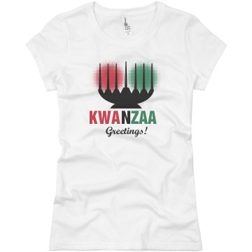 Kwanzaa Greetings Tee Junior Fit Basic Bella Favorite Tee
