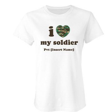 I Love My Marine Junior Fit Bella Sheer Longer Length Rib Tee
