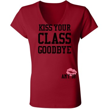 Kiss Your Class Goodbye Junior Fit Bella Sheer Longer Length Rib V-Neck Tee
