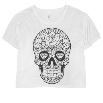 Sugar Skull Misses Bella Flowy Boxy Lightweight Crop Tee