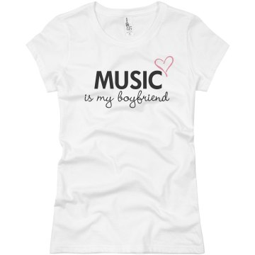Music Is My Boyfriend Junior Fit Basic Bella Favorite Tee