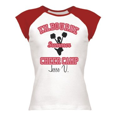 Summer Cheer Camp Tee Junior Fit Bella 1x1 Rib Cap Sleeve Raglan Tee