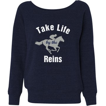 Life By The Reins Junior Fit Bella Triblend Slouchy Wideneck Sweatshirt