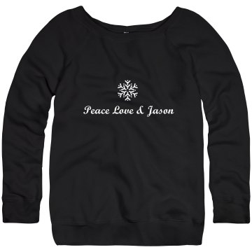 Peace, Love &amp; Jason Junior Fit Bella Triblend Slouchy Wideneck Sweatshirt