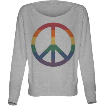 Love and Peace Tee Misses Bella Flowy Lightweight Relaxed Dolman Tee