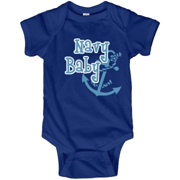 Navy Baby Onesie Infant Rabbit Skins Lap Shoulder Creeper