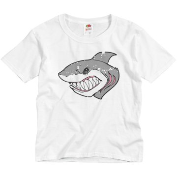 Distressed Shark w&#x2F; Back Youth Anvil 3&#x2F;4 Sleeve Raglan Baseball Tee