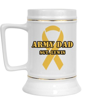 Army Dad 28oz Gold Trim Ceramic Stein