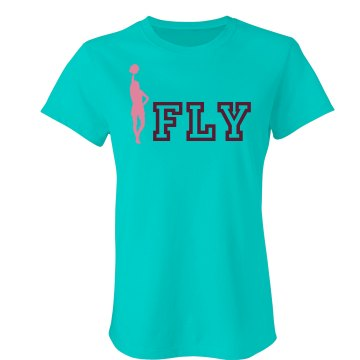 iFly Cheer Tee Junior Fit Bella Double V Sheer Jersey Tee