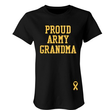 Proud Army Grandma Junior Fit Bella Crewneck Jersey Tee