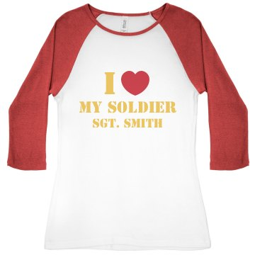i love my marine Junior Fit Bella 1x1 Rib 3/4 Sleeve Raglan Tee
