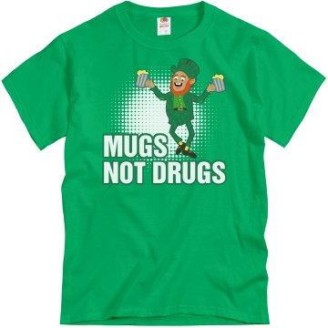 Mugs Not Drugs Guys Unisex Gildan Heavy Cotton Crew Neck Tee