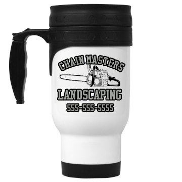 Chain Masters Landscaping 14oz White Stainless Steel Travel Mug