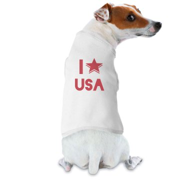 I Love The USA Dog T Doggie Skins Dog Hoodie Tee