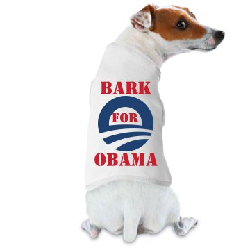 Bark for Obama Dog Tee Doggie Skins Dog Ringer Tee