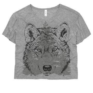 Wolf in the Woods Misses Bella Flowy Boxy Lightweight Crop Tee