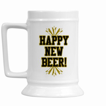 Happy New Beer 16oz Ceramic Stein