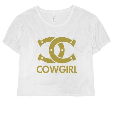 Designer Cowgirl Misses Bella Flowy Boxy Lightweight Crop Tee